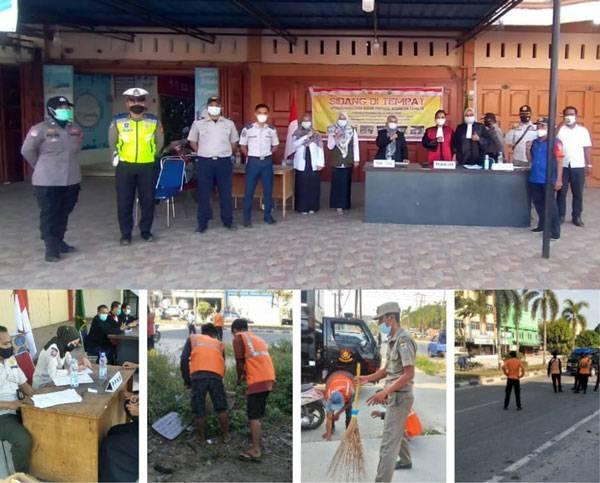 56 Pelanggar Prokes Covid-19 di Ibukota Pangkalan Kerinci Sidang di Tempat