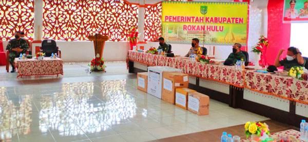 Tangani Dampak Covid 19, Dandim 0313/KPR Hadiri Rakor Dengan Gubri Bersama Danrem 031/WB dan Kapolda Riau