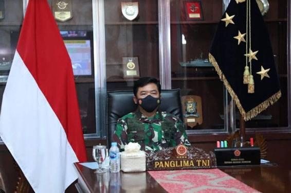 Panglima TNI Pimpin Rapat Evaluasi Penanganan Covid-19 dan Vaksinasi Dengan Pangkotama TNI