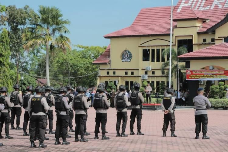 Pimpin Apel Patroli Skala Besar di Polres Rohil, Kapolda Riau Pastikan Keamanan Objek Vital Nasional