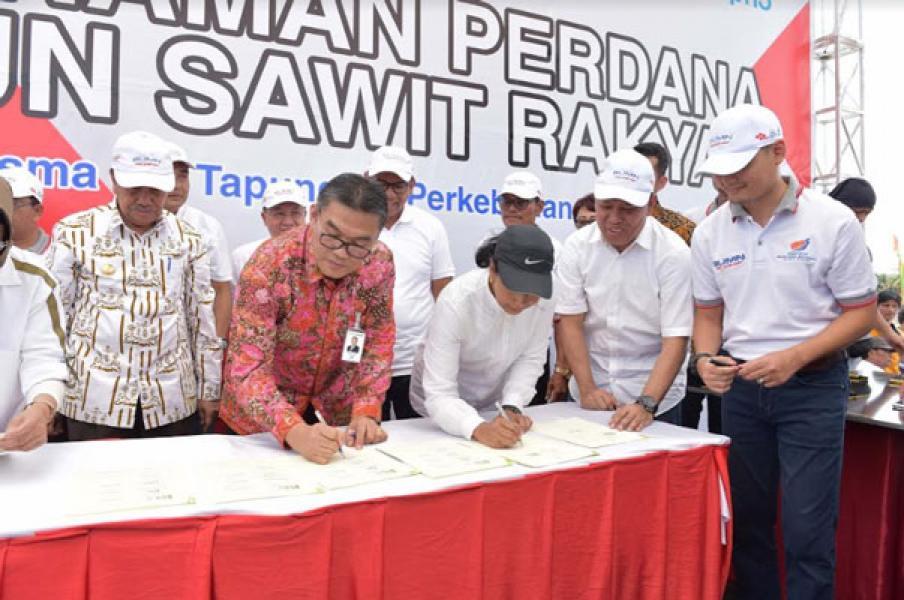 Bersama Menteri BUMN, Dirut Bank Riau Kepri Teken MoU Replanting Sawit Untuk Rakyat