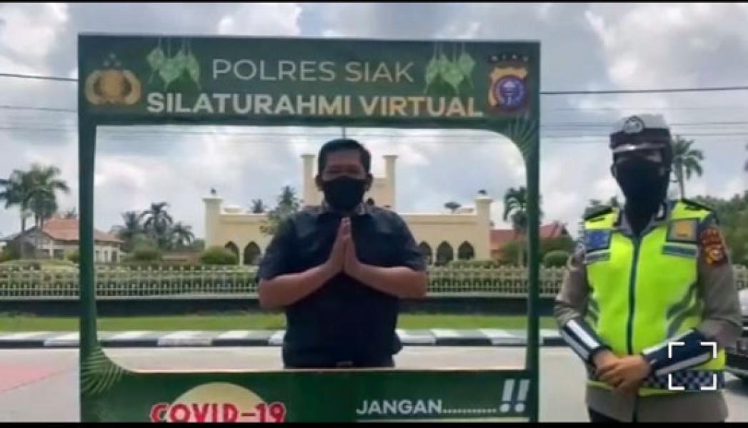 Polres Siak Siapkan Sarana Bersilaturahmi Idul Fitri Secara Virtual di Depan Istana Siak