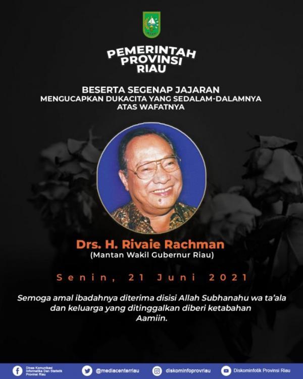 Tokoh Riau Rivaei Rahman Wafat, Gubri Ucapkan Duka Mendalam