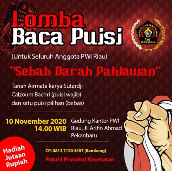 Sempena Hari Pahlawan, PWI Riau Gelar Lomba Baca Puisi Antar Wartawan
