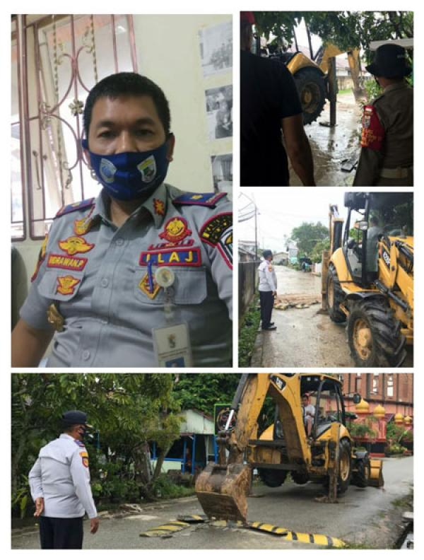 Sejumlah `Polisi Tidur` Liar di Ibukota Pangkalan Kerinci Ditertibkan